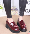 fashion platform thick sole slip on patent leather women tassel loafer lady flat shoes wine red