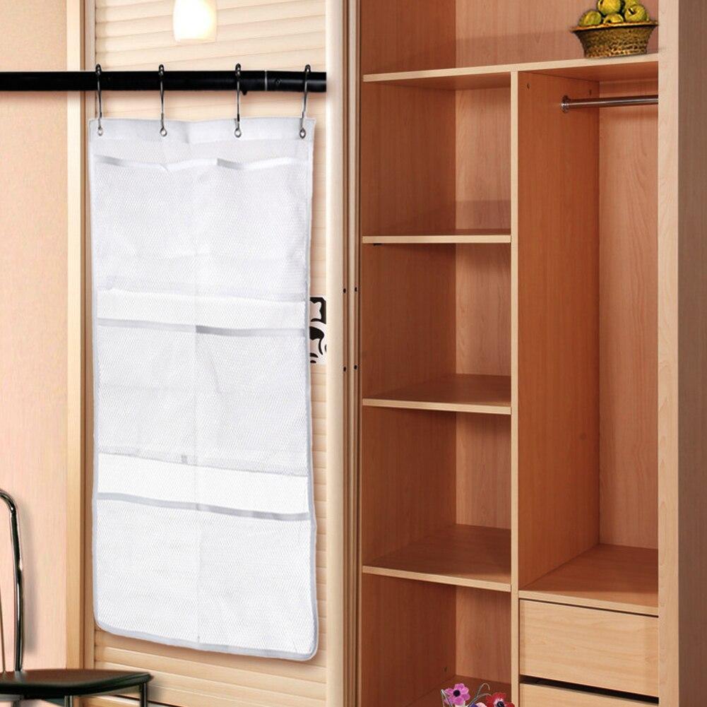 6 Pockets Visible Mesh Organizer Bathroom Tub Shower Hanging Storage ...