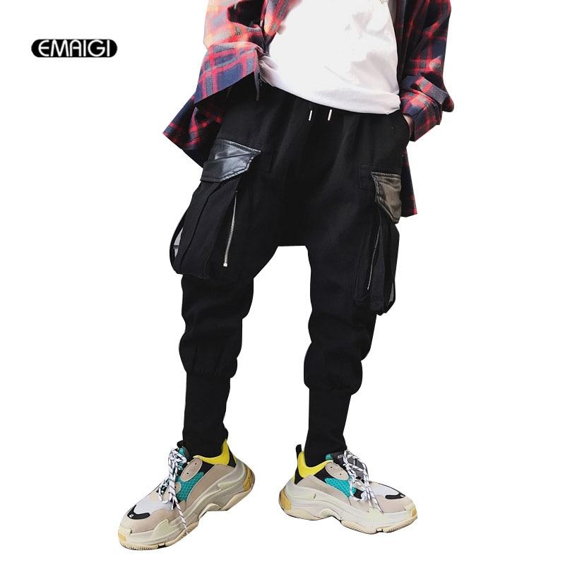 Casual Pant Joggers High-Street Trousers Harem Pocket-Design Male Hip-Hop Dancer Big