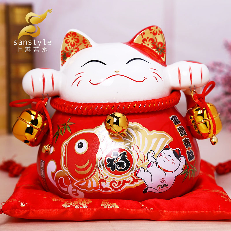 As good as water Lucky Cat Japanese ceramic ornaments large cat piggy gift shop opened 0286 savings