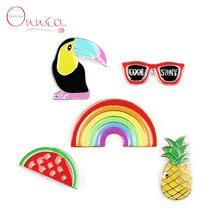 Onnea 5 Pack Cartoon Enamel Lapel Pin Set Cute Pineapple Rainbow Watermelon Toucan Glasses Cute Lapel Pin Badges for Jacket