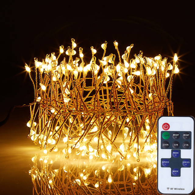 Led String Fairy Lights 200 LEDs Gebreide 4 M/12Ft Remote Dimbare ...