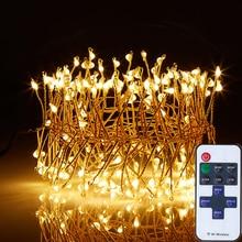 Led String Fairy Lights 200 светодиодов вязаный 4M / 12Ft Remote Dimmable Открытый крытый садовый кластер для новогоднего Halloween