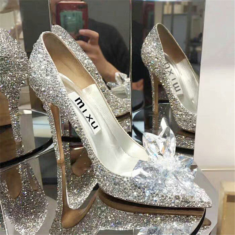 Crystal Shoes Stiletto Rhinestone High-Heels Pointed Female White Fashion European Drill