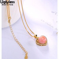 Uglyless Real S 925 Sterling Silver Natural Pink Shell Women Heart shape Pendant with Chain Vintage Fashion Fine Necklace Ethnic