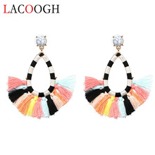 Фотография Lacoogh 2017 New Ethnic Bohemian Drop Dangle Long Rope Frings Cotton Tassel Earrings Trendy Earrings for Women Fashion Jewelry