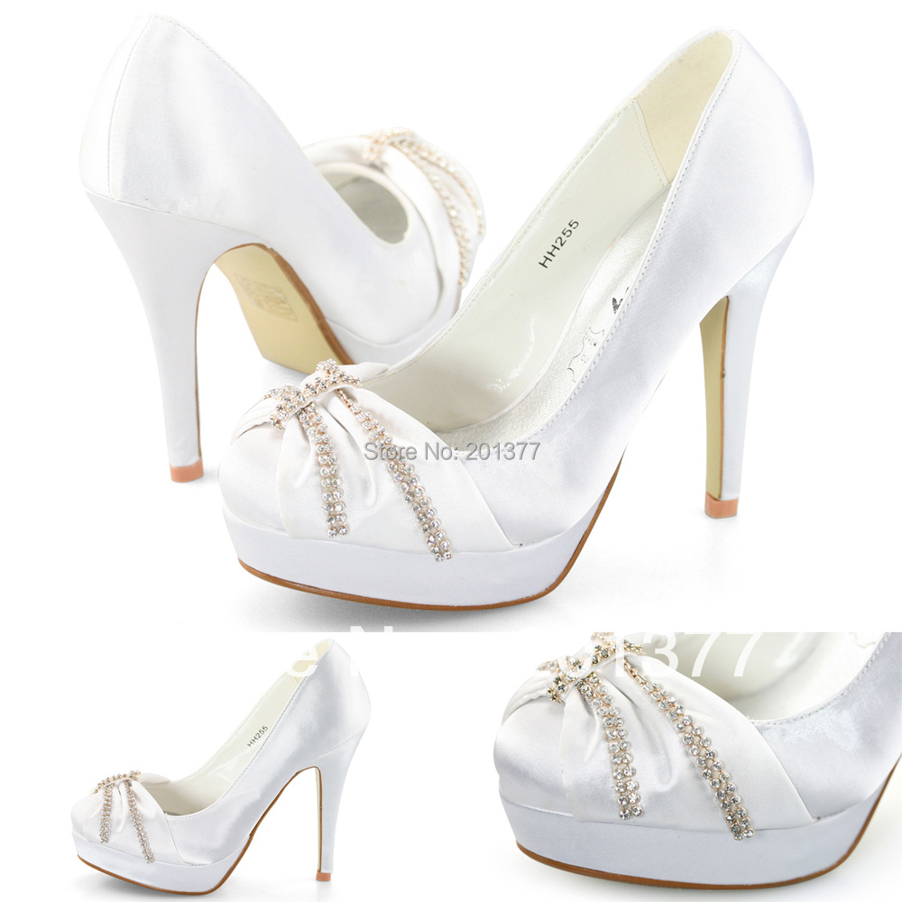 d364eac858d74b SHOEZY 2014 New Fashion Womens White Satin Rhinestione Formal Wedding shoes  heels Prom Dress Stilettos High Heels Shoes-in Women s Pumps from Shoes on  ...