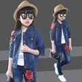 Большие дети осень детей 2016 Новый Прилив Девушки Корейский ковбой костюм осень цветы в стерео двух частей