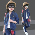 Large children autumn children 2016 New Tide Girls Korean cowboy suit autumn flowers in stereo two piece