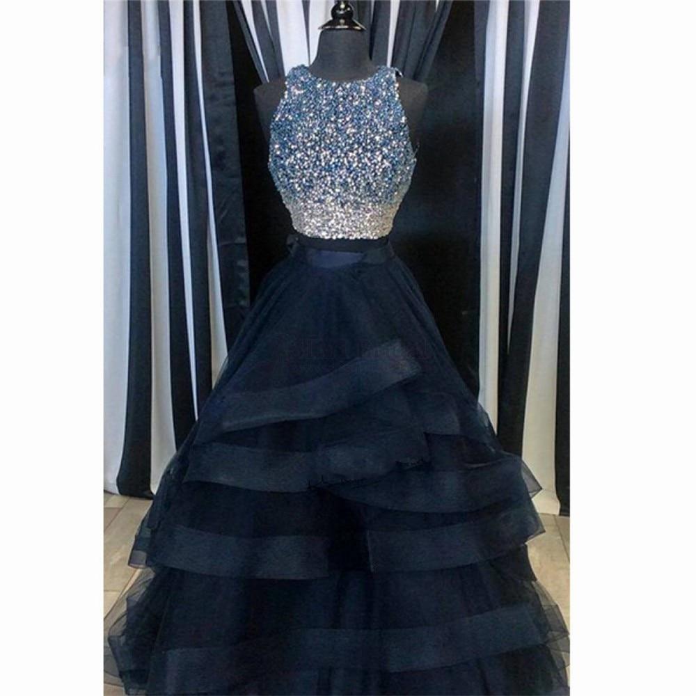 Navy Blue Long   Prom     Dresses   2018 with Rhinestones Ruffles Skirt Ball Gown 2 Piece Formal Evening Gowns Vestido de Formatura
