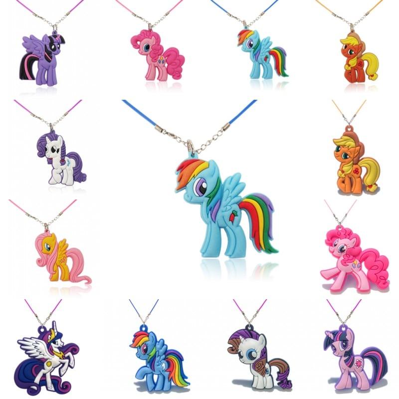 1PCS PVC Necklace Cartoon Figure Little Horse Chain Pendant Cute Minnie Charms Choker Fashion Jewelry