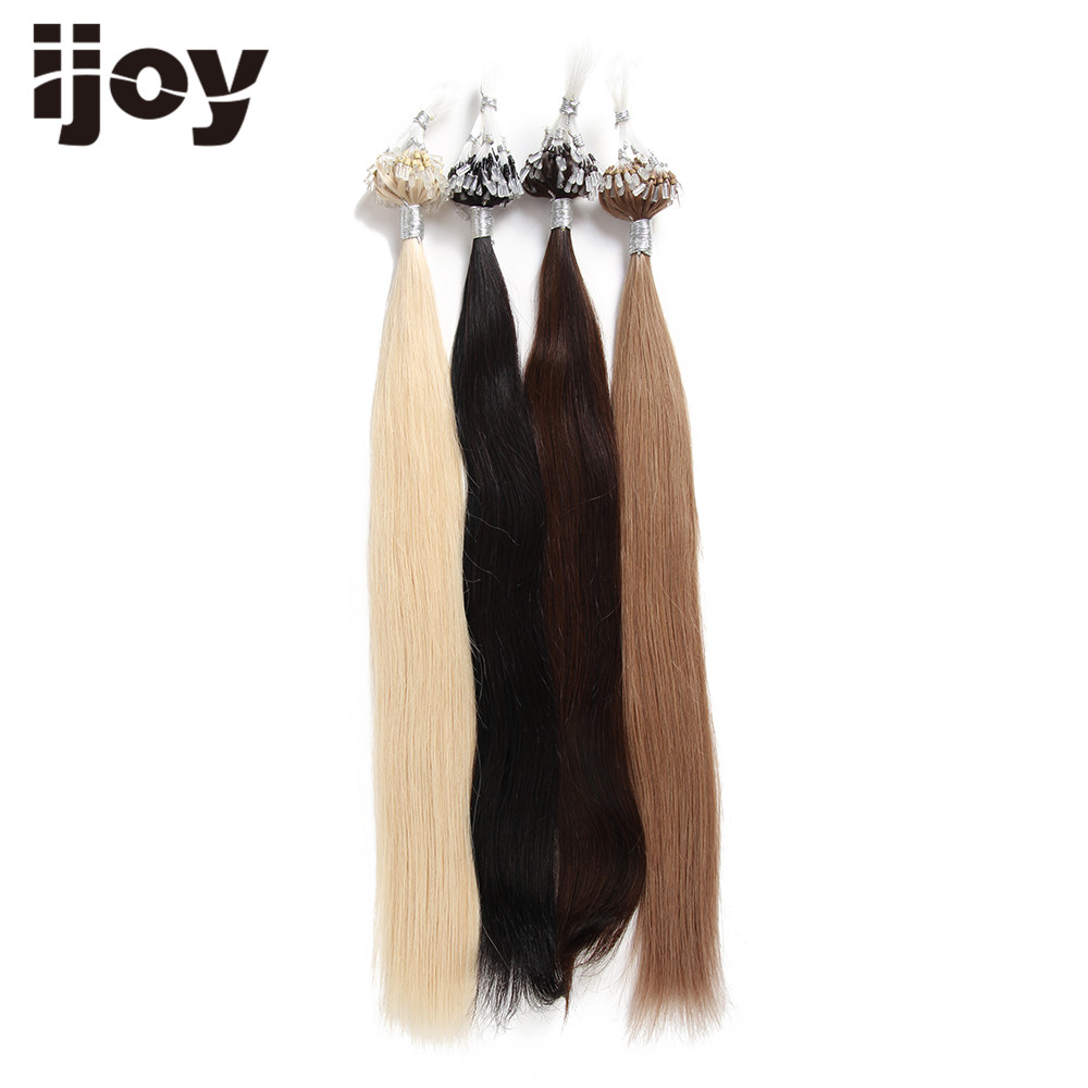 IJOY Boucle Micro Anneau Remy Blond Extensions de Cheveux Humains - Cheveux humains (blanc) - Photo 4