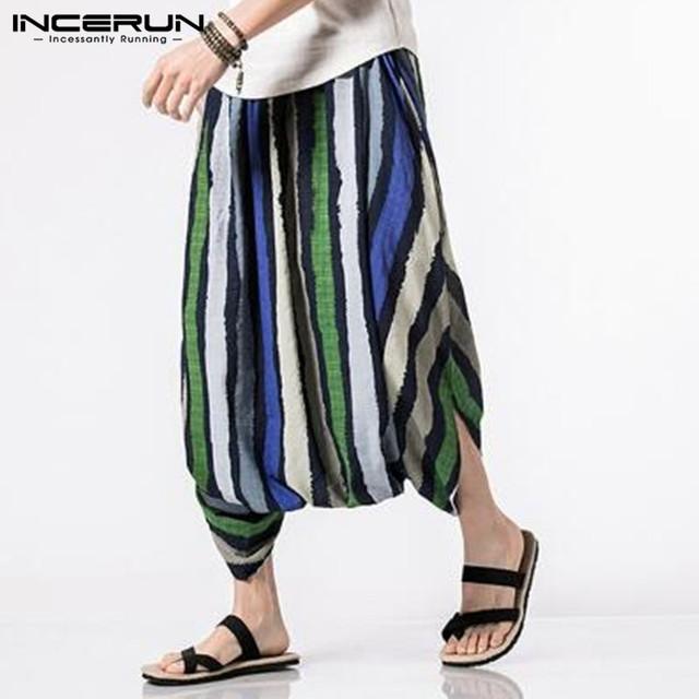 Summer Cotton Men's Pants Ankle-Length Strip Print Design Elastic Waist Big Crotch Baggy Trousers Casual Harem Hip Hop Bottom