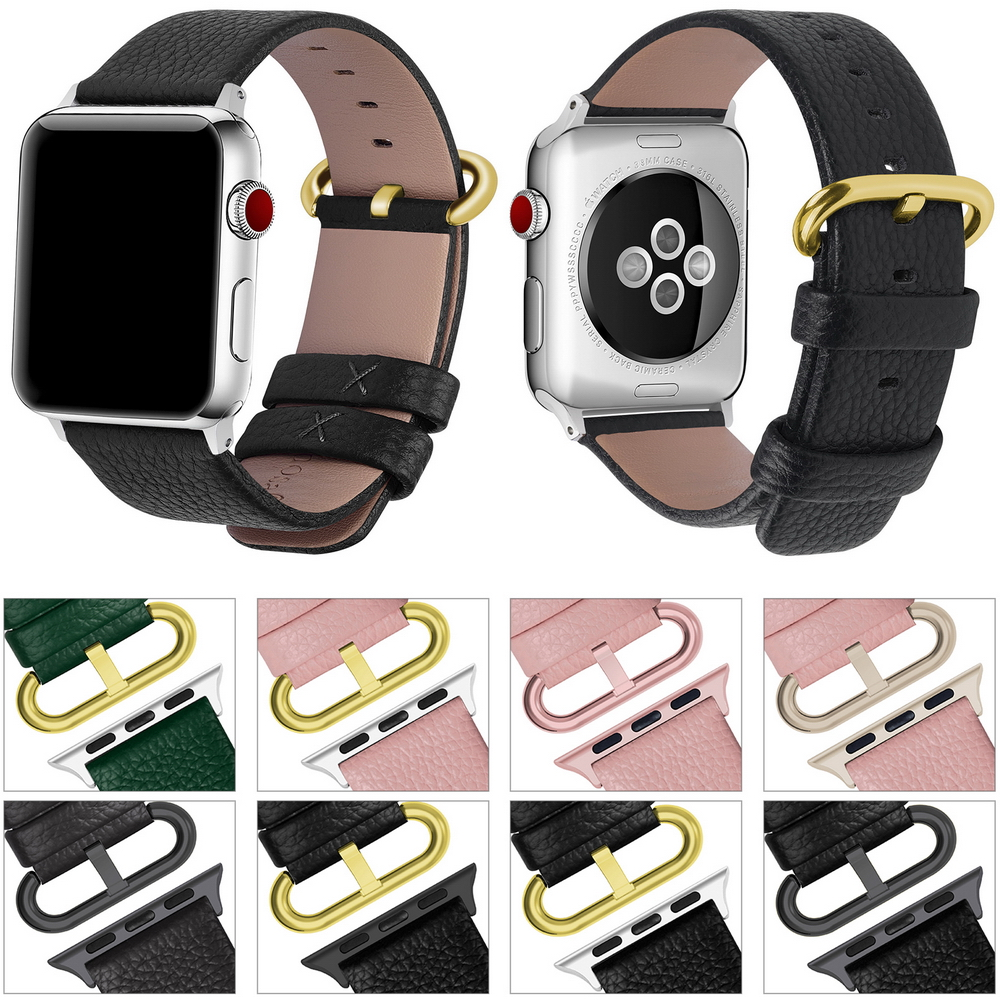 Genuine leather watch bracelet accessories for apple watch strap 38mm for apple watch band 42mm iwatch watchbands Seies 1/2/3 istrap black brown red france genuine calf leather single tour bracelet watch strap for iwatch apple watch band 38mm 42mm