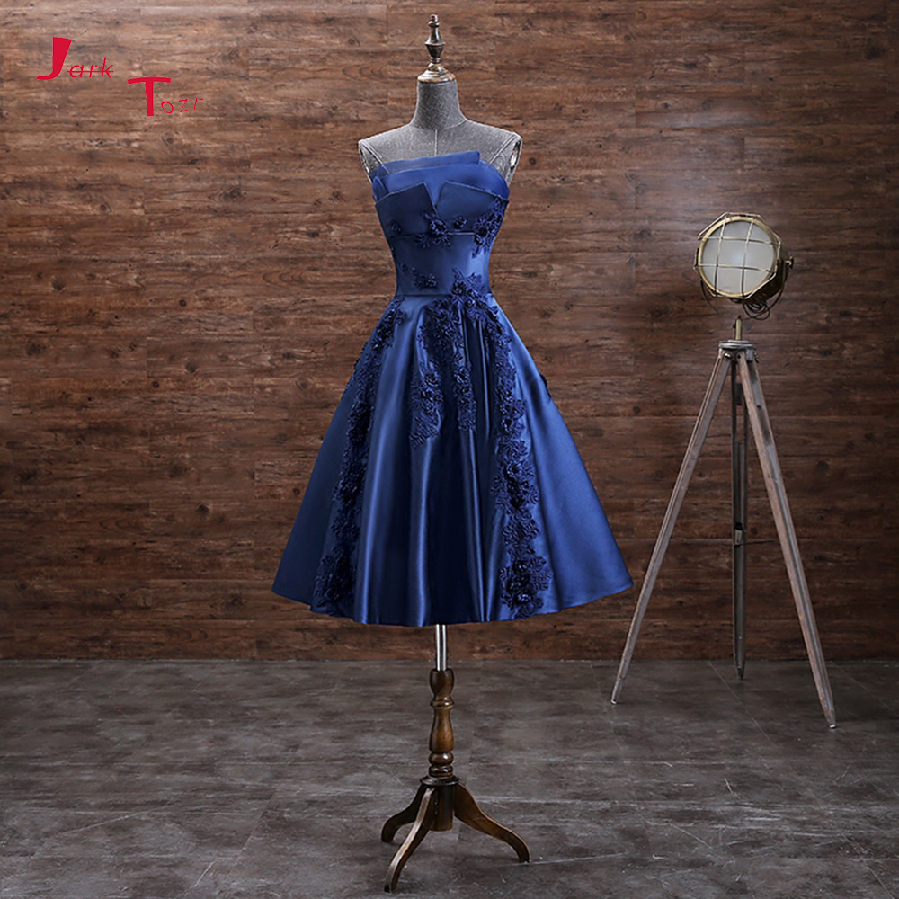Jark Tozr 2019 New Arrive Sweetheart Neck Lace Up Appliques Flowers Blue Red Pink Burgundy Satin Party   Cocktail     Dresses