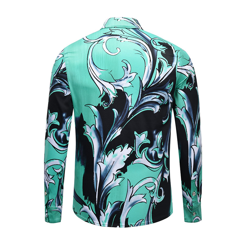 bf0ccfb1bb7a EDSON ARANTES New Male Shirt Brand Clothing Unique Green Floral Print Dress Shirts  Men Long Sleeve Casual Slim Fit Chemise Homme-in Tuxedo Shirts from Men s  ...