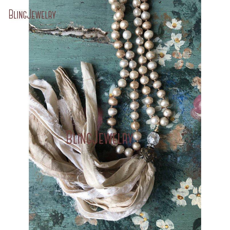 Champagne Shell Pearls Beige Cream Sari Silk Tassel Necklace Versatil Accessory Necklace Romantic Shabby Boho NM11321