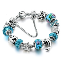 New Design European Silver Blue Crystal Glass Charm Bracelet for Women with Star Anchor Dolphin Beads Christmas Gifts SBR160146