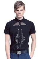 Fanzhuan Free Shipping New fashion casual male men's Summer 2016 short sleeved shirts slim Design printing Hollow shirt 612063