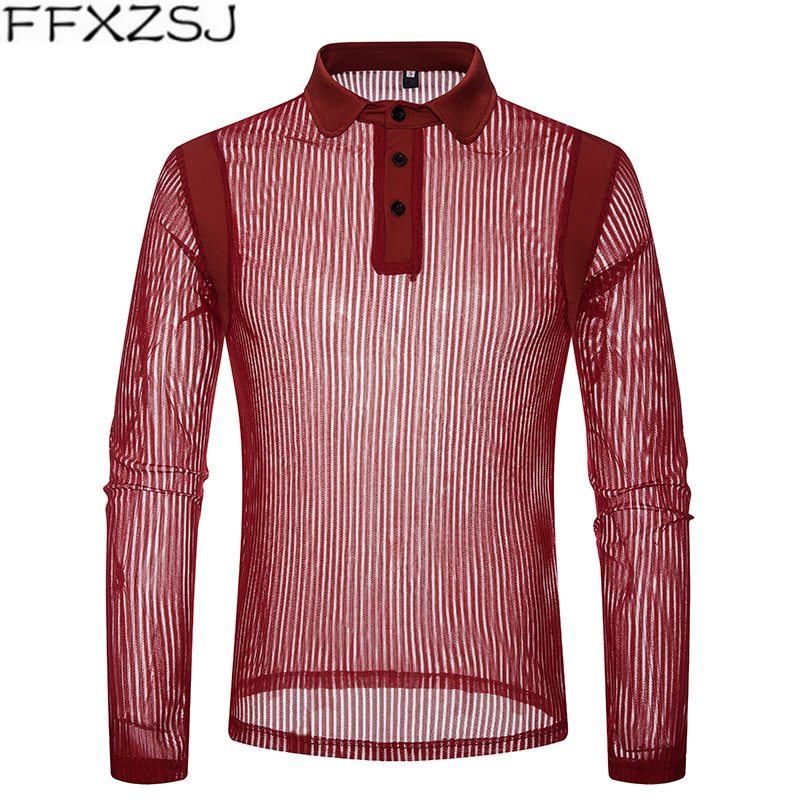 FFXZSJ Autumn New Solid Color Transparent Fashion Men Long Sleeve Slim Fit Sexy Red Black   Polo   Shirt Hommes Tops & Tees S-XXL