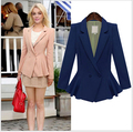 Regular Solid Blazer Women Feminino High Quality Plus Size Full Polyester Tunic Peplum Casual Career Work Blazers Jacket Coat