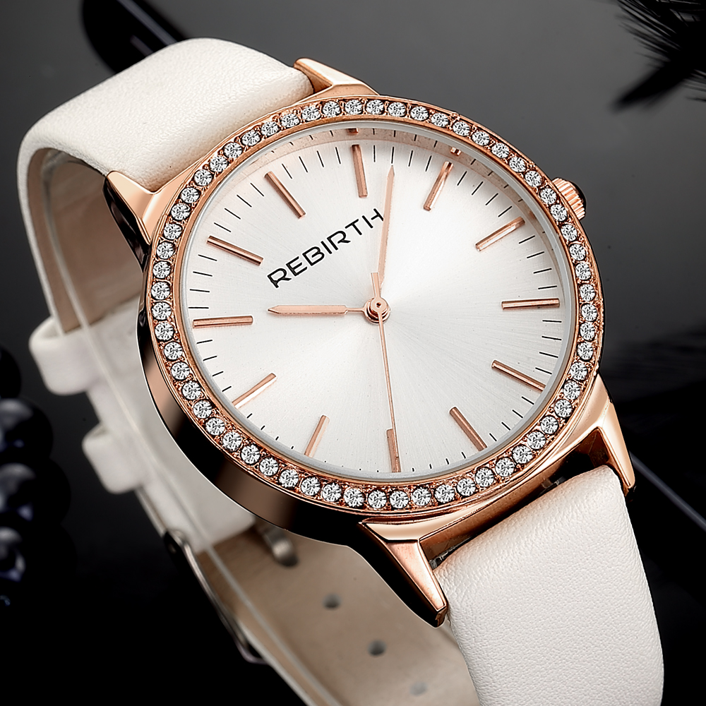 Buy Business Ladies Quartz Watch Dress Analog Crystal Luxury Women Wristwatch Casual Leather Strap Diamond Watch Gold Female Watches for only 12.15 USD