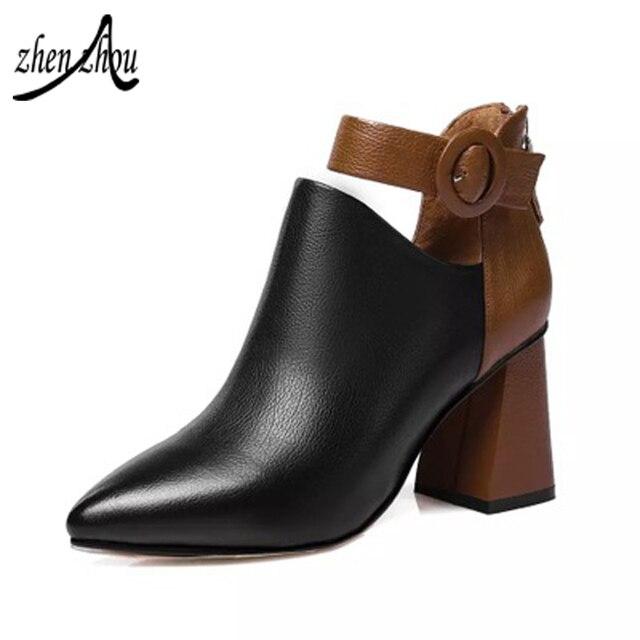 2018 г.; Бесплатная доставка; женские ботинки; сезон весна-осень; Новинка; стильная обувь на высоком каблуке в Корейском стиле; обувь на толстом каблуке; яркие цвета