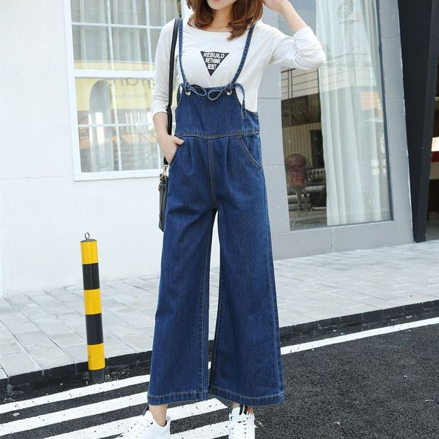 Plus Size Suspender Jeans Womens Jumpsuits Wide Leg Bell Bottom