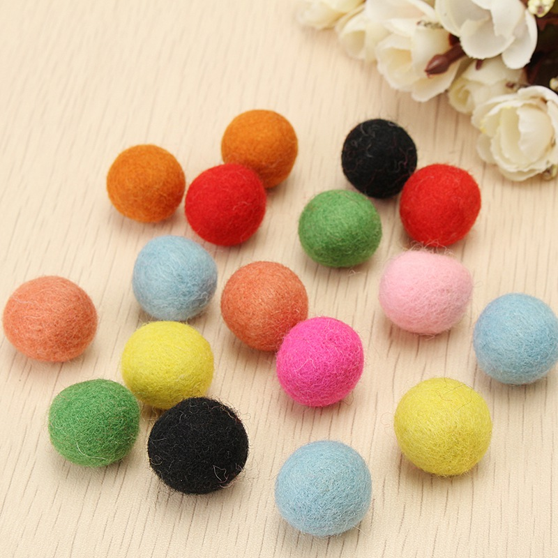 Cute 100pcs set multicolors 2cm round felt wool balls for Cute pom pom crafts