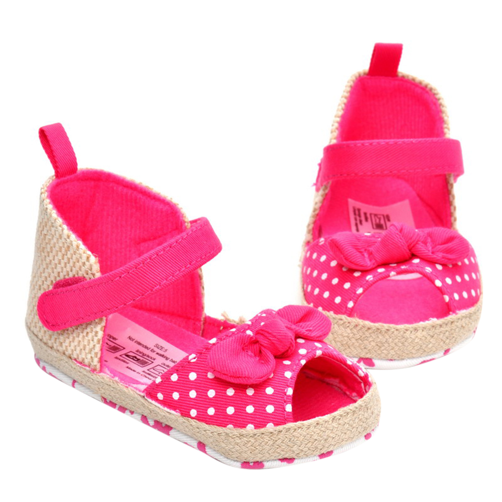 First Walkers Cooperative Baby Girl Soft Sole Shoes Dots Bowknot Toddler Anti-slip Shoes Newborn
