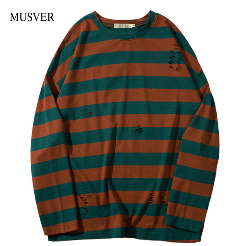 MUSVER Striped Pullover Long T Shirts Men's 2019 Fashion O Neck Hole Hip Hop Casual Cotton Tops Tee Streetwear Men T Shirts