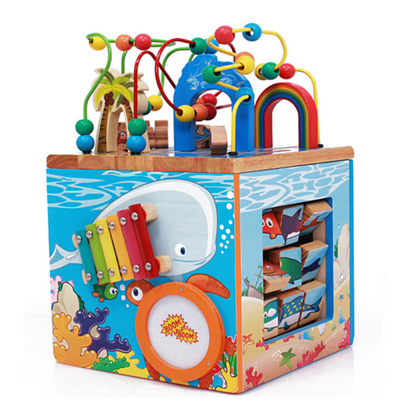 Wooden Four-sided Multi-functional Large-sized Ocean Orbiting Pearls For Children To Teach Early Wisdom 100 Treasure Box Toy