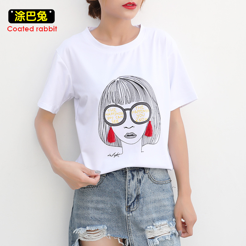 CR 2018 Fashion T Shirts Women Short Sleeve Character Printed O-Neck Cotton Female T-shirt Tops Casual Womens Tees Plus Size