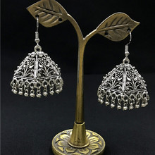 Fashion Ethnic Earrings Vintage Handwork Tibetan Silver Statement Metal Irregular Tassel Drop Earrings For Women Indian Jewelry