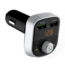 Bluetooth QC 3.0 Dual USB Car Charger LED Digital Phone Receiver Play TF Card U Disk Quick For iPad