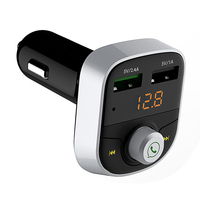 Bluetooth QC 3.0 Dual USB Car Charger LED Digital Phone Bluetooth Receiver Play TF Card U Disk Car Charger Quick For Phone iPad