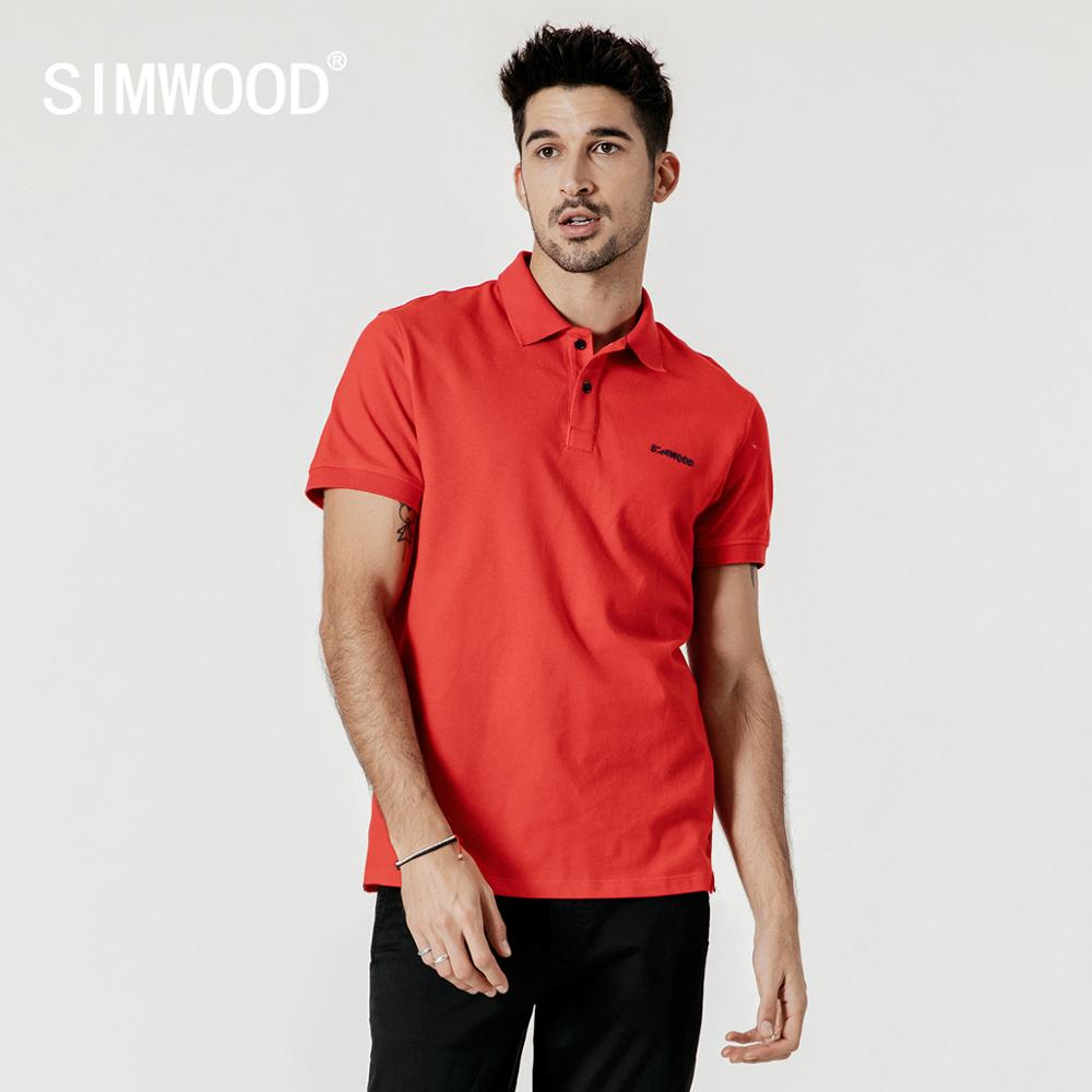 SIMWOOD 2019 summer new embroidered logo   polo   shirt 100% cotton classic top short sleeve t-shirt high quality plus size tees