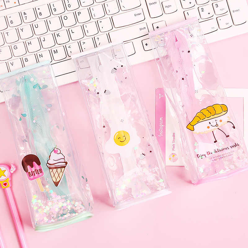 Cute Pencil Bag & Case Pvc Transparent Milk Liquid Student Girls Cartoon Pink Storage Bags for School Supply Stationery