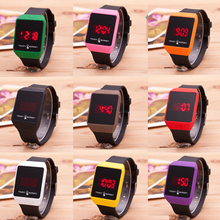 1 pc Nova Moda Touch Screen Led Eletrônico cinto Relógio das senhoras das mulheres relógios de Silicone Geléia relógios de Pulso de Quartzo forma quadrada H4