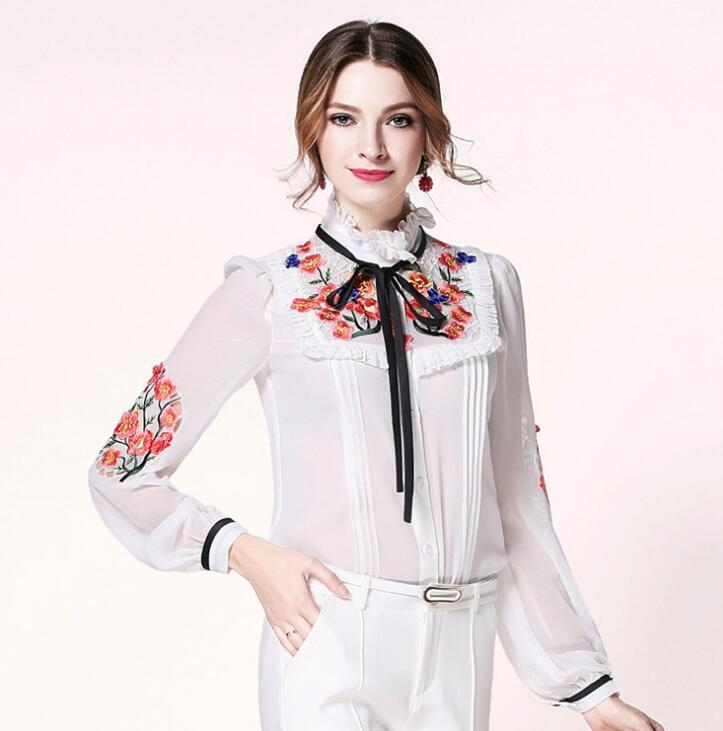 Blanc shirts Vintage Blouse Automne De Printemps Femmes T Soie En Hauts Élégant Dame White À Chemisier black Tb563 Broderie Manches Longues Décontracté xSnSXAqU6