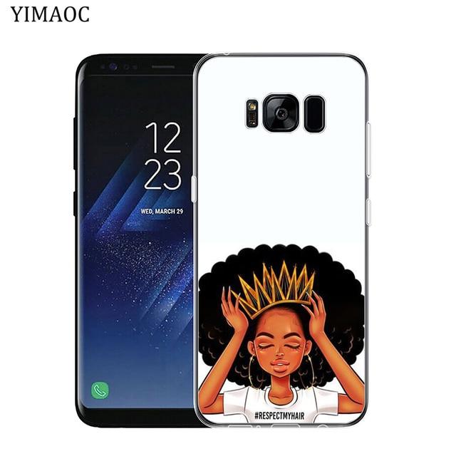 N'DJAMENA Coque de téléphone Afro Filles mince Souple Tpu Silicone Cas de Téléphone pour Samsung Galaxy S9 S8 Plus S7 Bord Note 9 8 retour Couvercle Transparent 4
