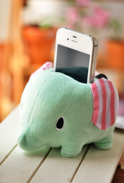 Fashion Cute Elephant Mobile Phone Stand Holder Plush Doll Stuffed