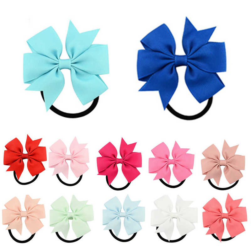 Kids Girls Light Color Babby Cute Small Flower Rubber Bands Children Safe Elastic  Hair Accessories Pink/White Headband
