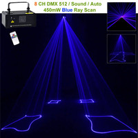 Mini 450mw Blue Beam Laser DPSS Stage Lighting Scanner Wireless Remote 8 CH DMX DJ Home Party Disco Show Projector Lights B450