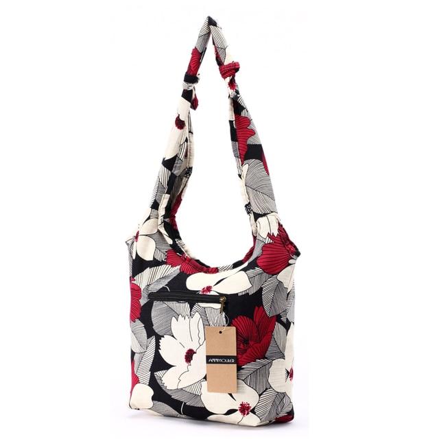 Women Messenger Bag Cotton Fabric Shoulder Bag Bohemian Chic Hobo Bag Gypsy Bag Travel Tote Sling Handbag 1