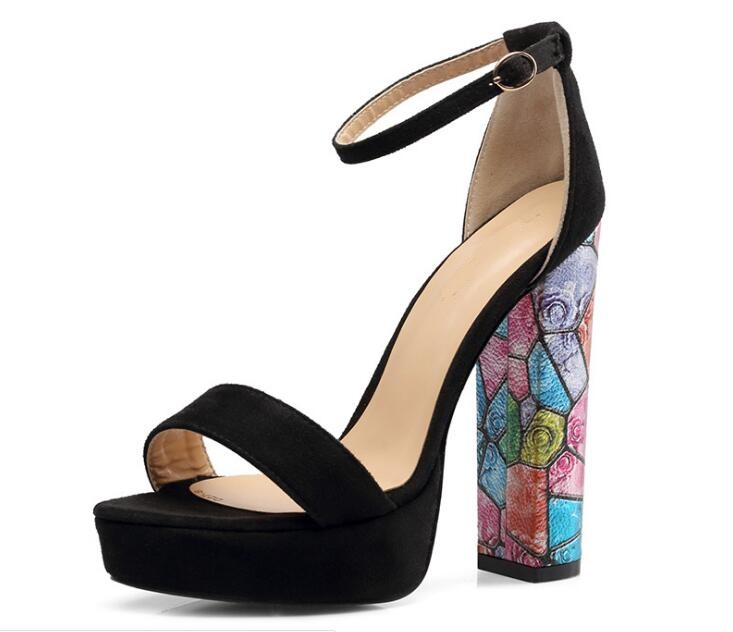 Ms/Лидер продаж; пикантные однотонные замшевые босоножки на квадратном каблуке с очень высоким задним ремешком и открытым носком; черные туфли на высоком квадратном каблуке с ремешком на щиколотке