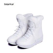 SWYIVY/Женская обувь; кожаные зимние теплые бархатные зимние ботинки на меху; модель года; женские Мягкие Водонепроницаемые зимние ботинки на платформе