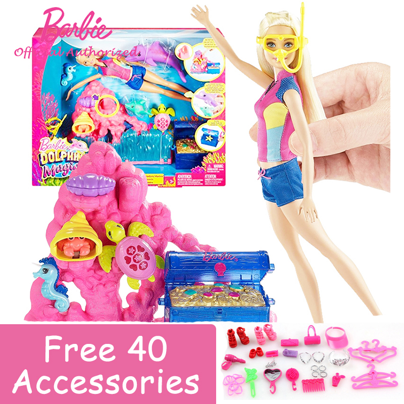 Barbie Swimming Girl Toys Barbie Dolphin Magic Ocean Treasure Playset Change Color Toy FCJ29 Girl Favourite Toy Brinquedos para