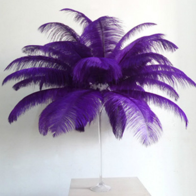 HOT 50pcs lot 50 55cm 20 22 purple ostrich feather plume wedding decoration black feather ostrich