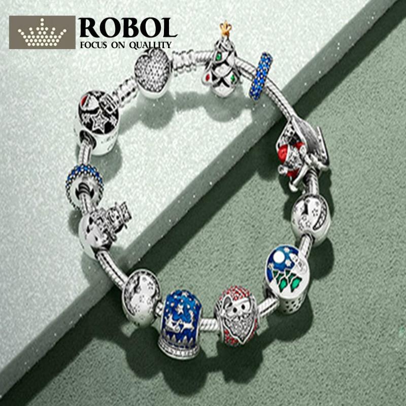 цена на ROBOL Book Di 925 Sterling silver Winter Christmas Bracelets Suit Charm Bead Clear CZ Fit DIY Original Charm Pand Free